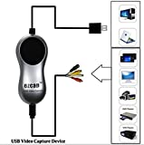 EZCAP USB 2.0 Video Audio Capture Grabber Recorder Adapter Records from VCR DVR VHS DVD Camcorder Game Playstation USB to PC for Windows 10/8/7 systems with Snapshot Taking Picture