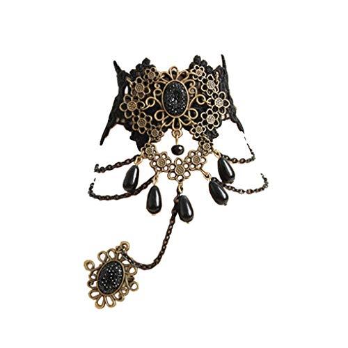 Edwardian Womens Ring - Countonme Women Gothic Black Bracelet Wristband with Finger Ring Vintage Lolita Choker Pendant Edwardian Vampire Choker