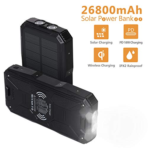 AMAES Solar Charger 26800mAh,Portable PD 18W&QC3.0 Qi Wireless Charger 10W Li-Polymer Battery Pack,4 Outputs,Super Bright Flashlight,IPX2 Rainproof