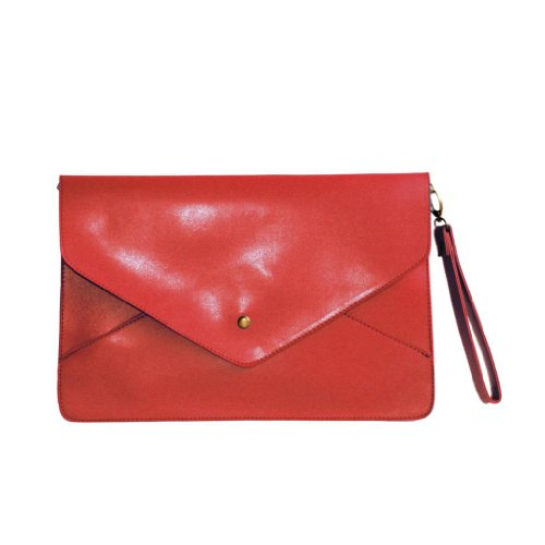 LookbookStore Womens Oversized Novelty Envelope Clutch Purse Handbag Red, Bags Central