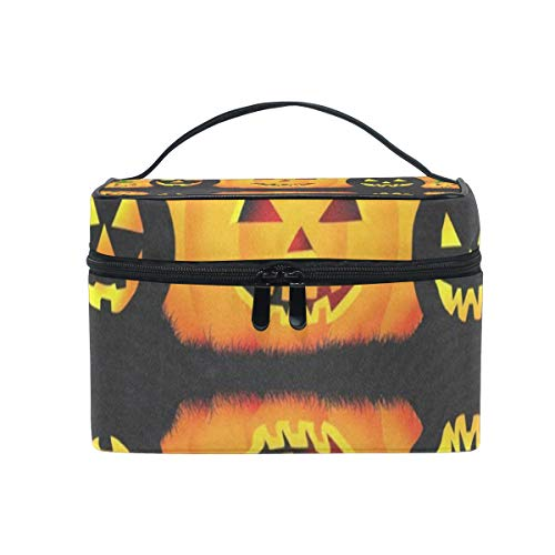 Travel Cosmetic Bag Halloween Pumpkin Parttern Toiletry Makeup Bags Pouch Tote Case Organizer Storage For Women Girls]()