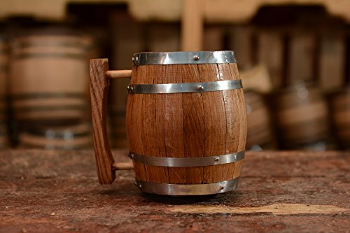 Sofia's Findings Wood Oak Barrel Mug - 1 Liter - Raw Wood - Handcrafted by Sofia's Findings