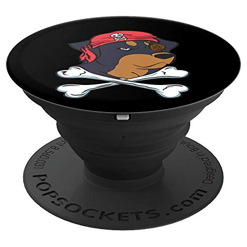 Funny Rottweiler Pirate Halloween Dog Lover Gift Dog Owner - PopSockets Grip and Stand for Phones and Tablets ()