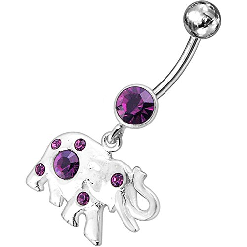 Purple Multi Crystal Stone Elephant Dangling Design 925 Sterling Silver Belly Button Piercing Ring Jewelry