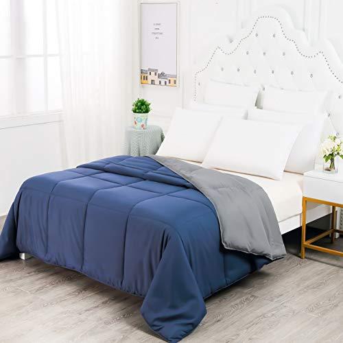 Hebel Lightweight Solid Blanket Queen Goo Down Alternative t Ultra Soft All asons Comforter Duvet-Navy Grey Machine Washable, Dark Blue/Grey2 | Model BLNKT - 12 | ()