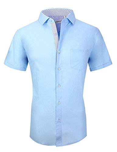 Joey CV Mens Casual Button Down Shirts Long Sleeve Regular Fit(Short Blue,Large) by Joey CV