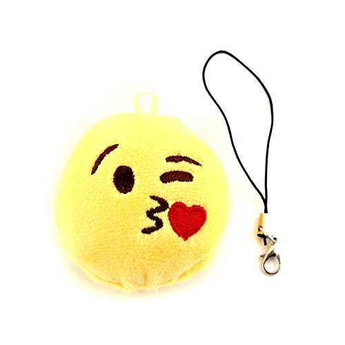 - IDS Home Small Round Soft Emoji Smiley Emoticon Cushion Pillow Stuffed Plush Toy Doll Keychain Strap, Feeling