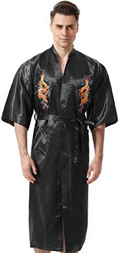 Image result for MORCOE Men's Chinese Dragon Embroidered Satin Long Men Robe,Smoking Jacket Yukata Christmas Pajamas Kimono for Men
