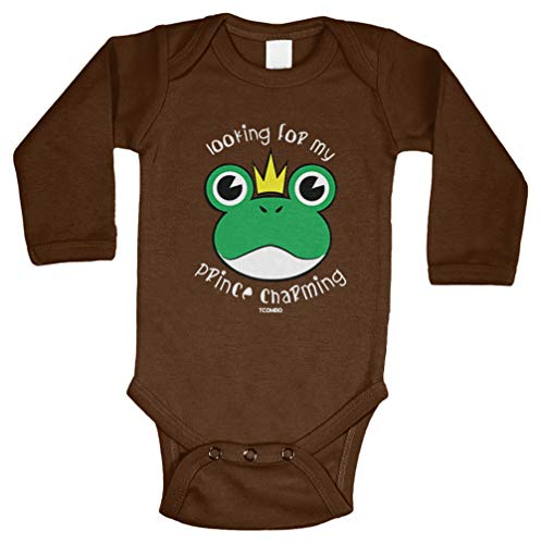 - Tcombo Looking for My Prince Charming - Frog Long Sleeve Bodysuit (Brown, 18 Months)