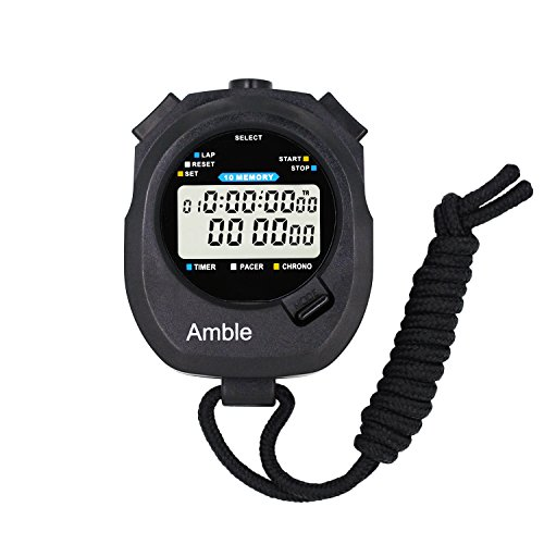 Amble Countdown Timer and Stopwatch Record 10 Memories Lap Split Time with Metronome and Calendar Clock with Alarm for Sports Coaches and (Memory Stopwatch Timer)