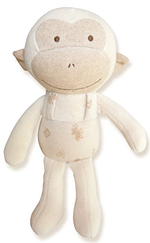 (Baby Monkey)100% Organic Cotton Baby First Doll 11 inches (No Dyeing Natural Organic Cotton)