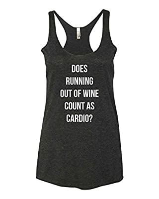 Panoware Women's Funny Wine Tank Top | Does Running Out of Wine Count as Cardio