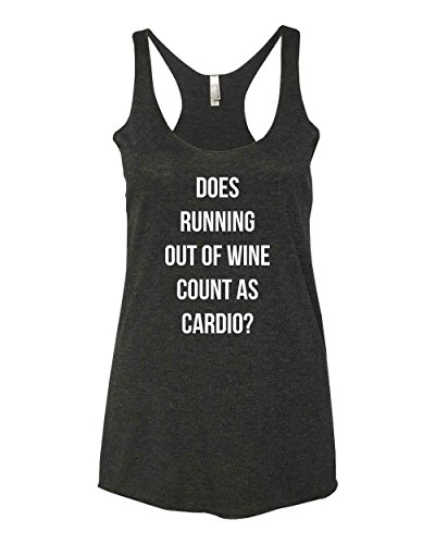Panoware Women's Funny Workout Tank Top | Does Running Out of Wine Count as Cardio, Vintage Black, Medium