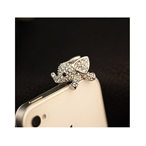Vanki Crystal Elephant Anti Dust Plug Stopper / Ear Cap / Cell Phone Charms for Smartphone, iPad with 3.5mm Earphone Jack Phones - Silver