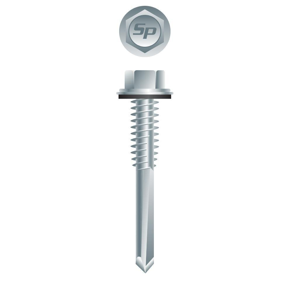 #12 x 1-1/4'' HWH ZINC PLATED #5 POINT SELF-DRILLING SCREWS w/BONDED WASHER 3M Box by Intercorp
