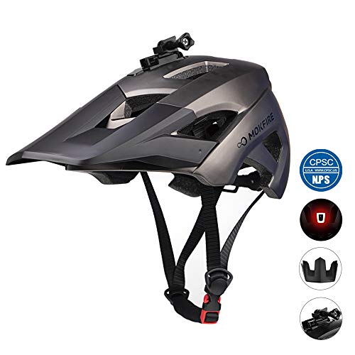 MOKFIRE Mountain Bike Helmet - Detachable Super Long Sun Visor with USB Safety Light & Camera Mount for MTB Adult Cycling Bicycle Helmet for Women and Men - Size (22.44-24.01 Inches) -Gunmetal