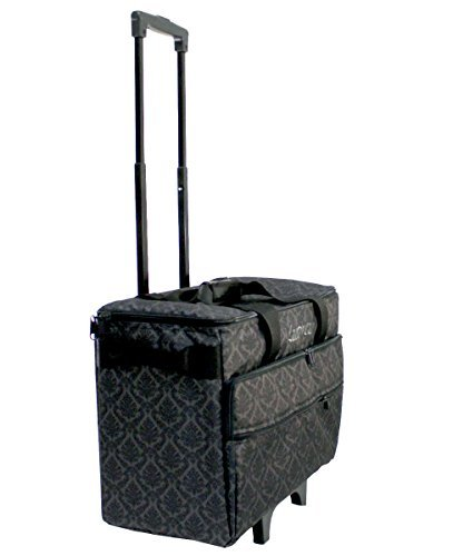 Luova 19'' Rolling Sewing Machine Trolley in Black and Grey Print by Luova
