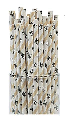 Pacca Fun Supplies 7.75'' NFL Paper Straws New Orleans Saints, 48 count.