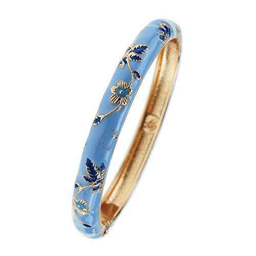 UJOY Flowers Bracelet Multi-Colors Cloisonne Wedding Jewelry Gift Women Girls Enameled Bangles Opening Hinged 55B35 Blue - Gold Enameled Red Rose