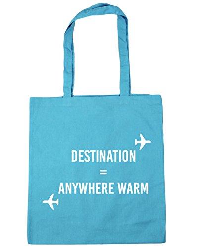 HippoWarehouse destino cualquier lugar cálido Tote Compras Bolsa de playa 42cm x38cm, 10litros azul (Surf Blue)