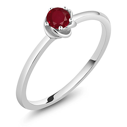 0.22 Ct Round Red Ruby 10K White Gold Solitaire Engagement Ring