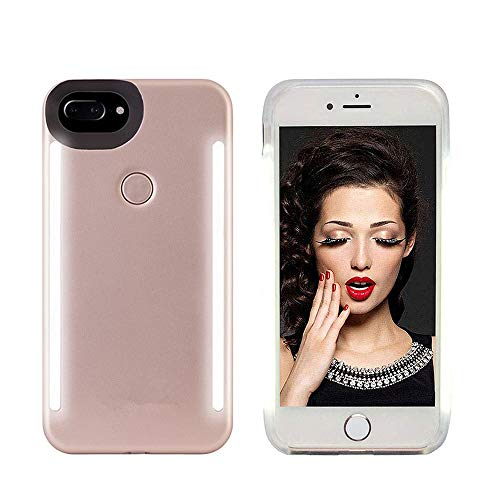 Selfie Light up Case for iPhone 6 plus/6s Plus/7 Plus/8 Plus,LNtech Rechargeable LED Light Up Flash Lighting Selfie Case Back and Front Cover(Rose Gold, iPhone 6 plus/6s Plus/7 Plus/8 Plus) (Light Up Phone Case Iphone 7 Plus)