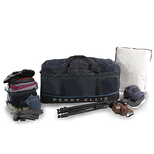"41kF4ZVtrgL - Perry Ellis Men's 24"" Lightweight Rolling Bag-A324 Duffel Bag, Navy/Blue, One Size"