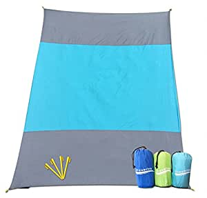 SAND-AWAY Sand Proof Outdoor Compact Beach Blanket (20% Bigger 9 x 7 ft) Oversized Beach, Picnic Blanket/ Beach Mat (INCLUDES 4 FREE STAKES!) Great for the Beach, Picnic, Camping, Hiking - XXL