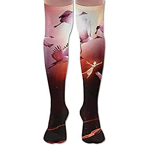 Long Dress Socks Cotton Athletic Breathable Over-the-Calf Tube 3D Flamingo 2.jpg