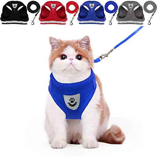 YujueShop Cat Harness and Leash Dog Harness Walking Adjustable Soft Mesh Pet Vest with Lead Re-Adjustable Pet Leash with Reflective Material and Metal Button Suit for Most Sizes of Pet (M) ()