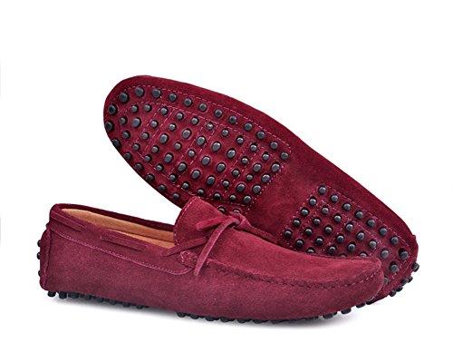 Santimon - Mens Casual Comfort In Vera Pelle Nabuk Da Corsa Scarpe Basse Da Barca Basse Mocassino Mocassino Rosso