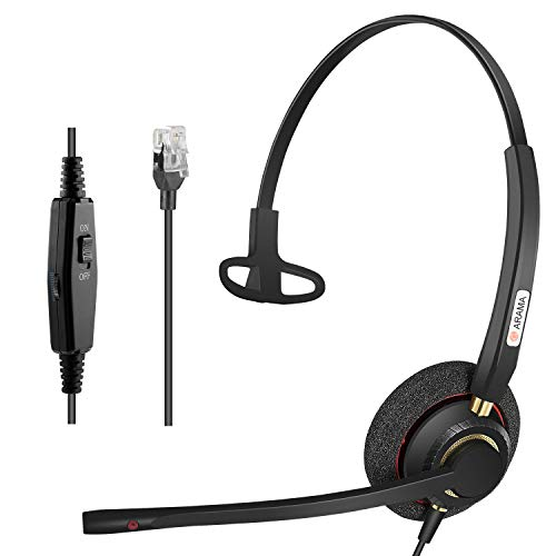 Telephone RJ9 Headset+ Noise Canceling Microphone + Adjustable Volume + Mute Control for Polycom Mitel Avaya Allworx Alcatel Lucent AltiGen Digium InterTel Plantronics MiVoice Desk Phone (A800SM)