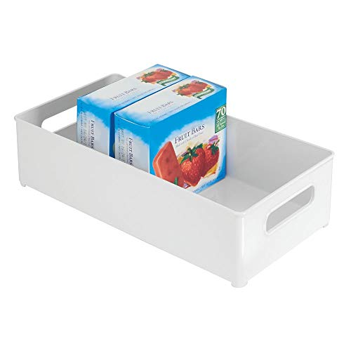 mDesign Large Stackable Kitchen Storage Organizer Bin with Pull Front Handle for Refrigerators, Freezers, Cabinets, Pantries - BPA Free, Food Safe - Deep Rectangle Tray Basket - White ()