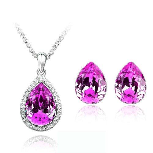 Élégant Parure de bijoux Rose larme cristal Boucles d'oreilles clous et collier S338