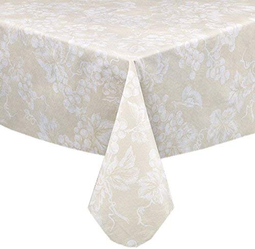 Lintex Grapevines Contemporary Grape Print Heavy 4 Gauge Vinyl Flannel Backed Tablecloth, Indoor/Outdoor Wipe Clean Tablecloth, 60 Inch x 104 Inch Oblong/Rectangle, Ivory ()