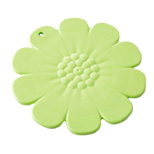 4PCS Anti-slip Cup Mat Hot Pad Coaster Heat Resistance, Green Flower
