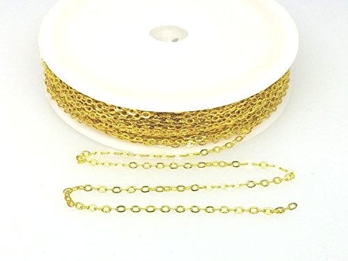 Small Link Chain 2.1 x 1.7mm Dangling Chain, Gold Plated Brass 32 feet