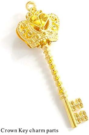 Craft Tamago 【10個】金属チャーム 王冠の鍵 ゴールド 58*21