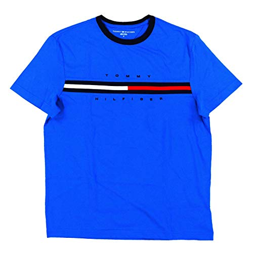 Tommy Hilfiger Men Classic Fit Big Logo T-Shirt (Small, Bright Blue) (Tommy Tshirt Men Hilfiger Pack)