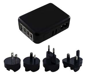 Xcessor Internacional Universal USB Cargador de Viaje de 4 Puertos. Entrada 100-240V. Cuatro Puertos USB + Cuatro Enchufes de Pared Intercambiables para Europa, Estados Unidos, Reino Unido y Australia (EU US UK AU). Negro