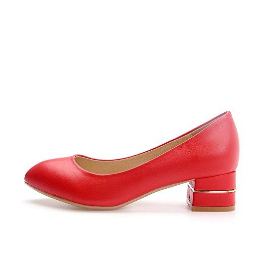 AllhqFashion Damen Rein Büffelleder Niedriger Absatz Spitz Zehe Ziehen auf Pumps Schuhe Rot