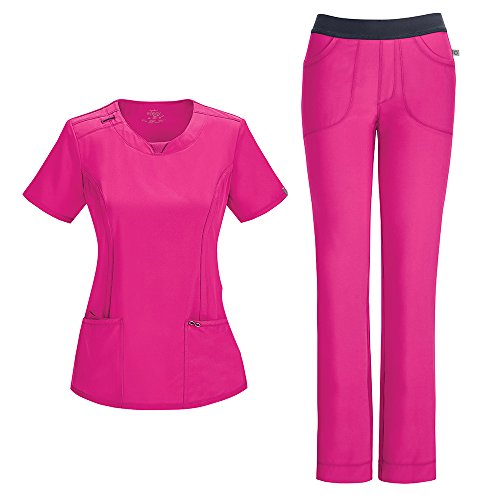 (Cherokee Infinity Women's with Certainty Round Neck Top 2624A & Low Rise Pant 1124A Scrub Set (Antimicrobial) (Carmine Pink - Large/Medium Tall))