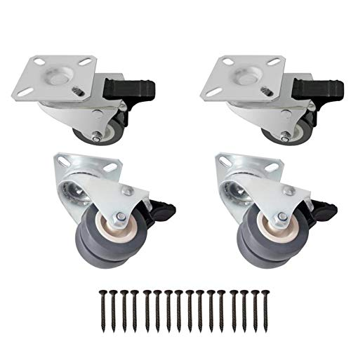 (4 Heavy Duty Caters Wheels - 360 Degree Swivel Workbench Casters 2inch Locking Caster Wheels 4packs with 4 Brakes Replacement Casters for Furniture Plants Carts Dolly Trolley 480 Lbs Capacity (Grey))