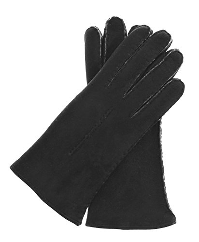 Fratelli Orsini Women's Handsewn Sueded Lamb Shearling Gloves Size 8 Color Black by Fratelli Orsini