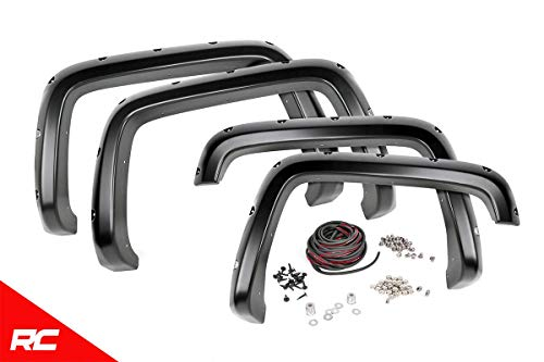 Rough Country Pocket Fender Flares Flat Black Compatible w 2015-2019 GMC Canyon 5 FT Bed F-G11511 Bolt On Style Rivets