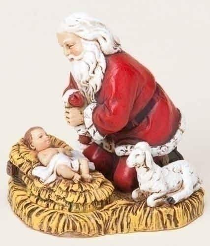 Roman Joseph's Studio Kneeling Santa with Baby Jesus Christmas Ornament ()