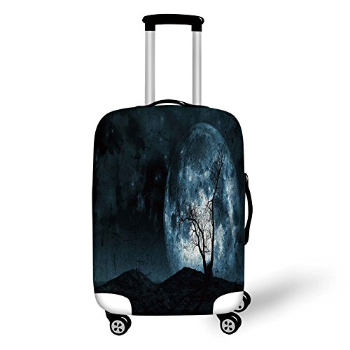 Travel Luggage Cover Suitcase Protector,Fantasy,Night Moon Sky with Tree Silhouette Gothic Halloween Colors Scary Artsy Background,Slate Blue,for -