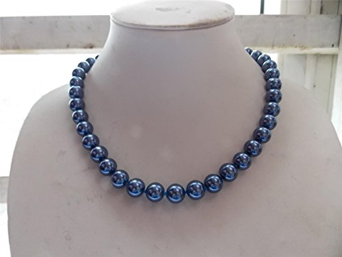 Aaa Seashell Pearl Necklace - AAA+ 8mm south sea shell pearl necklace 18'' (blue)