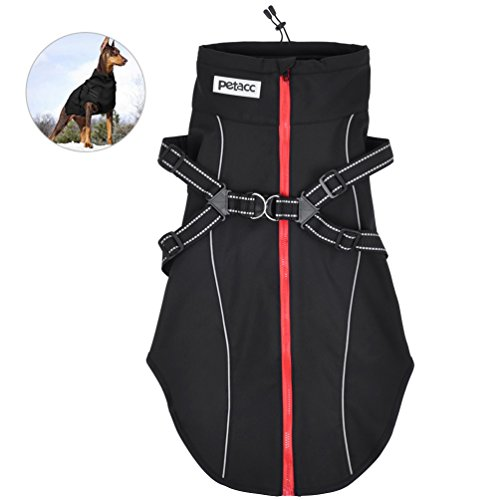 Petacc Warm Pet Jacket Premium Dog Winter Coat Durable Dog Apparel with Adjustable Strap and Reflective Stripe, Suitable for Medium and Large Size Dogs (L, - Coat Pet Apparel