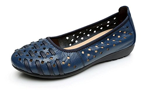 CHFSO Womens Breathable Leather Round Toe Low Top Hollow Out Low Heel Flats Sapphire p5Y1NpAxVH
